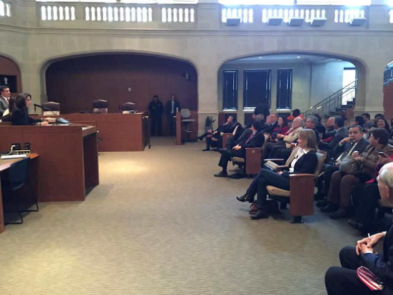 City Council chambers filled with election candidates to draw lots to determine the order of name placement on the May 9 ballot. Photo by Gretchen Greer.