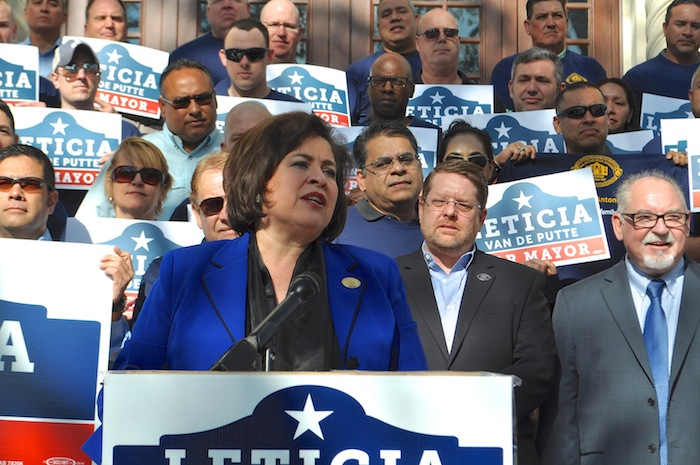 Leticia Van de Putte accepts the endorsement for her mayoral campaign from the police union on the steps of City Hall. Photo by Iris Dimmick.
