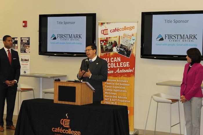 Richard Perez displays his support at the SASA kick-off press conference at Café College. Courtesy photo.