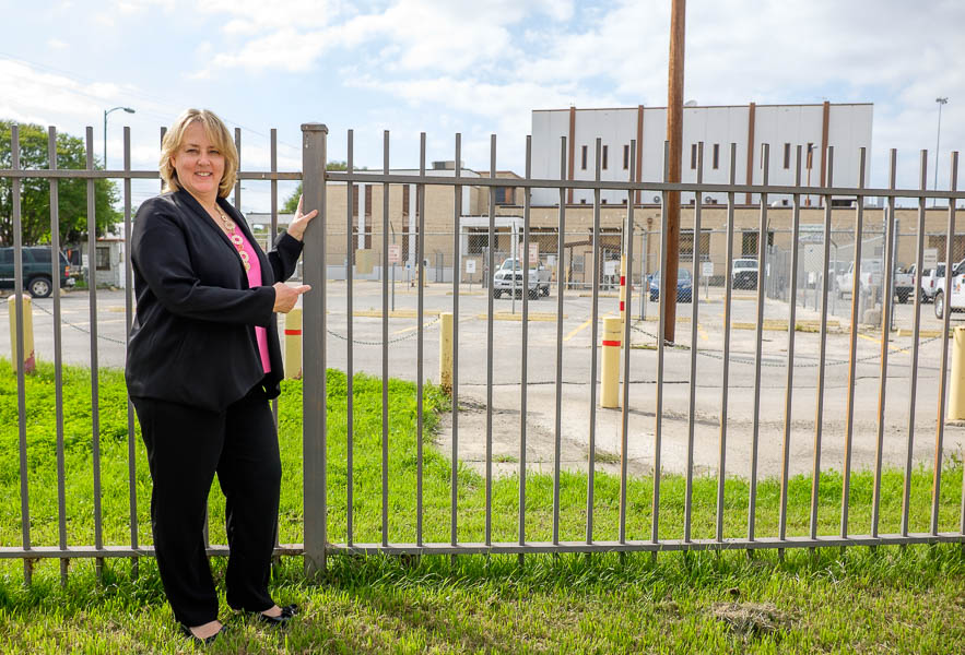 SAMA Kelso Director Katherine Luber points to the museum's new property donated by CPS Energy. Photo by Scott Ball.
