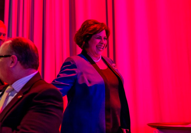 Mayoral candidate Leticia Van de Putte walks to her podium at the KLRN-TV  forum. Photo by Scott Ball.