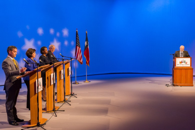 Mayoral candidates (from left) Mike Villarreal, Leticia Van de Putte, Ivy Taylor, and Tommy Adkisson attend a forum hosted by Rick Casey at the KLRN -TV Mayoral Forum. Photo by Scott Ball.