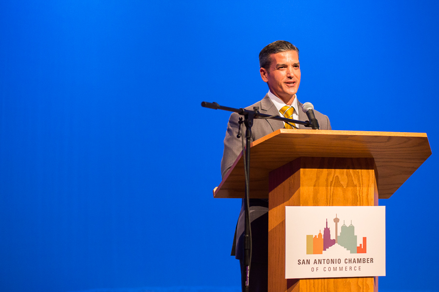 Mayoral candidate Mike Villarreal at the KLRN-TV forum. Photo by Scott Ball.