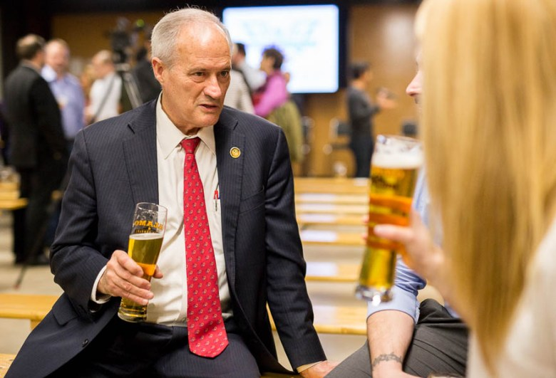Mayoral candidate Tommy Adkisson speaks with attendees after the Pints & Politics mayoral forum at the Alamo Beer brewery. Photo by Scott Ball.