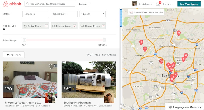 A screen shot of an Airbnb search for San Antonio accommodations.