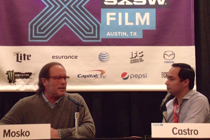 U.S. Rep. Joaquin Castro, right, (D-San Antonio) talks with Sony Pictures Television President Steve Mosko about the future of viewing at South by Southwest. Photo by Edmond Ortiz