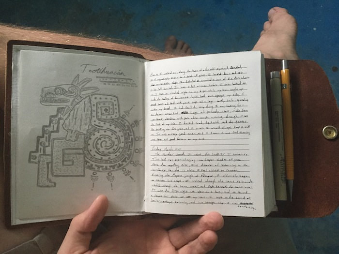 My Teotihuacán journal entry. Photo by Everett Redus.