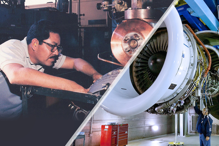 Then and Now: Generations of San Antonians have enjoyed careers in aircraft support on the 1,900-acre site of the former Kelly Air Force Base. Photos courtesy of Port San Antonio.