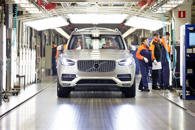 A new Volvo XC90 rolls off the line at a manufacturing plant in Torslanda, Sweden. Photo courtesy of Volvo.