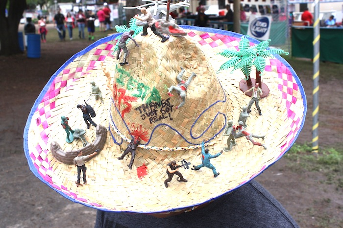 """A """"Walking Dead"""" themed hat during the 2015 Fiesta Oyster Bake. Photo by Kay Richter."""