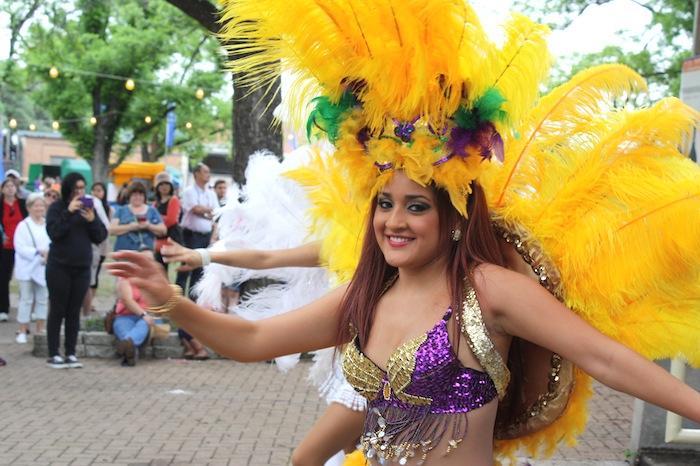 Samba Vida Drum & Dance Company dancers during the 2015 Fiesta Oyster Bake. Photo by Kay Richter.