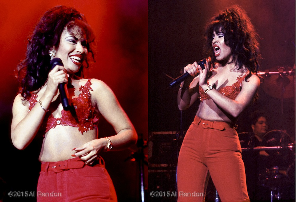 Selena performing after a fashion show that featured her designs. Photo by Al Rendon.