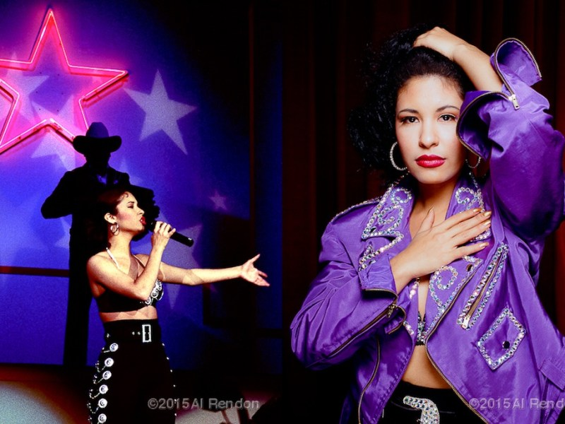 Left: Performing at 1991 Tejano Music Awards. Right: A studio shoot for Live album. Photo by Al Rendon.