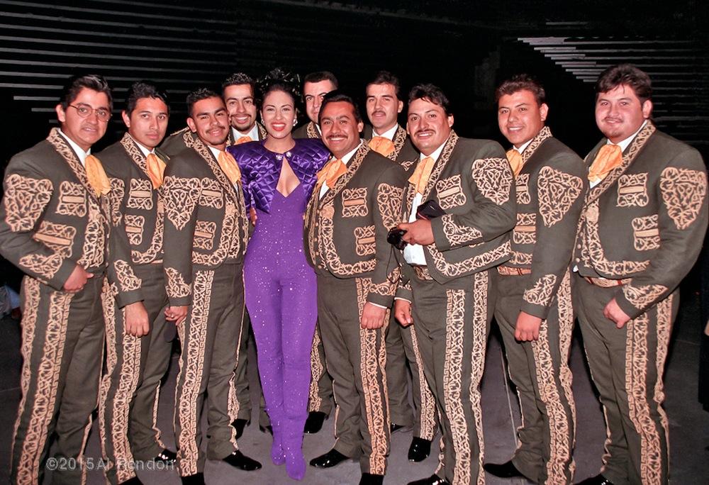 Selena and Los Caporales at 1994 Tejano Music Awards. Photo by Al Rendon.