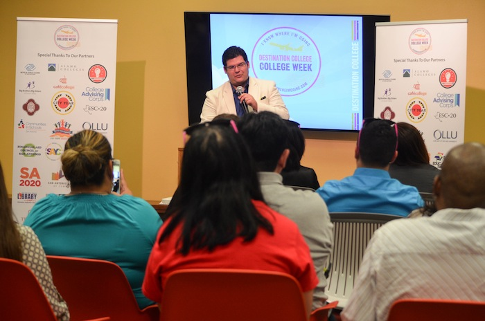 Andrew Salazar addresses the crowd at the 2015 Destination College kickoff event on Monday. Photo courtesy of SA2020.