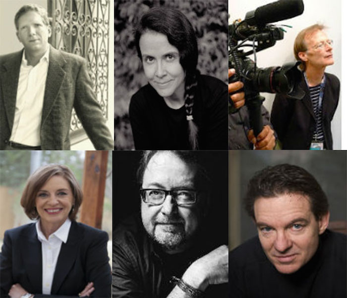 From top left to bottom right: David Liss, Naomi Shihab Nye, Jan Jarboe Russell, Luis Alberto Urrea, and Lawrence Wright. Courtesy photos.