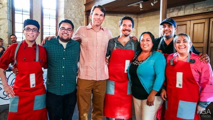 (From left) Maxine Dickinson, Ryan Salts, Peter French, Jesse Torres, Silvia Alcaraz, Hitish Nathani, Lupito Rivero. Photo by Jonathan Guajardo.