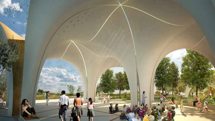 Rendering of Confluence Park's pavilion courtesy of Lake/Flato Architects and Matsys Design.