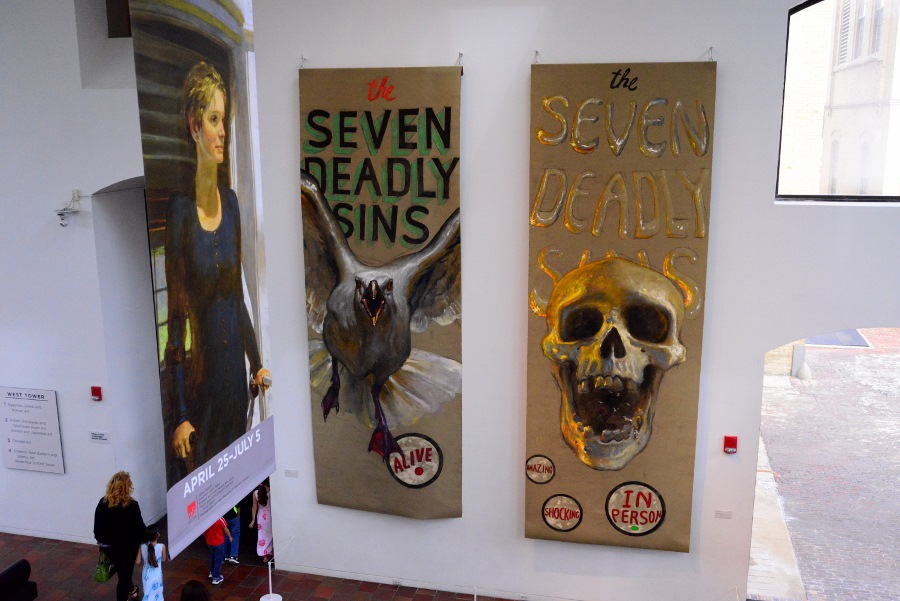 """""""Seven Deadly Sins"""" banners by Jamie Wyeth. Photo by Page Graham."""