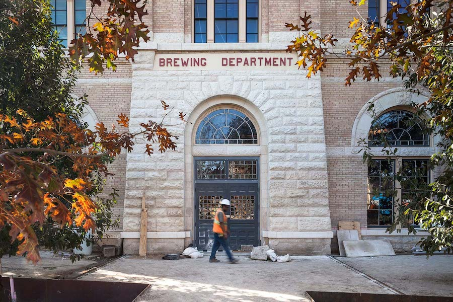 Southerleigh Fine Food & Brewing's historic front door. Photo by Scott Martin.