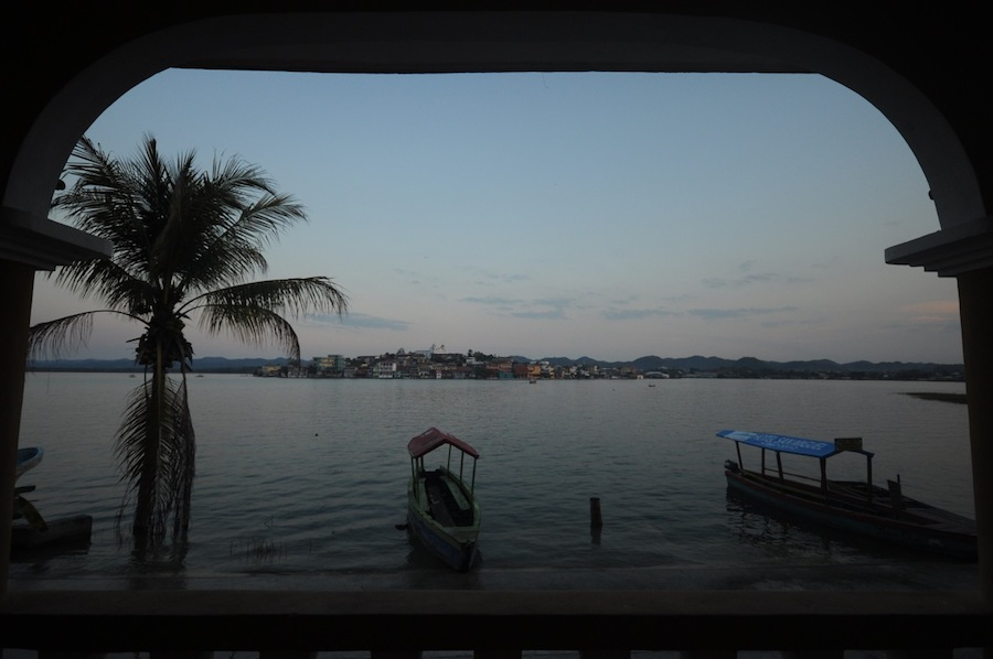 Vview of Flores on lake Peten Itza in Guatemala. Photo by Everett Redus.