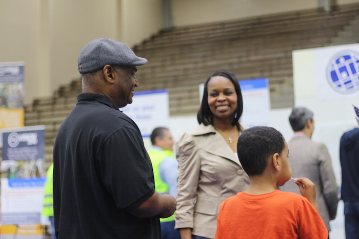Mayor Ivy Taylor speaks with event attendees during the SA Tomorrow kickoff at the Alamo Convocation Center. Photo by Joan Vinson.
