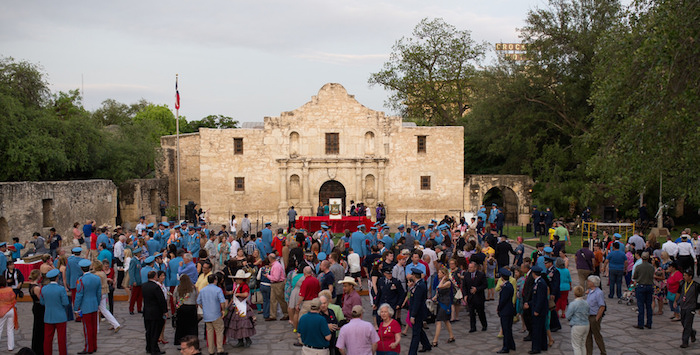 A bustling day at the Alamo during Fiesta. Photo by Scott Ball.