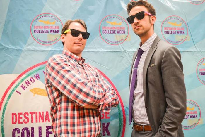Café Commerce President Peter French and P16Plus Adam Tutor (author) pose a photo at the 2015 Destination College kickoff event on Monday. Photo courtesy of SA2020.