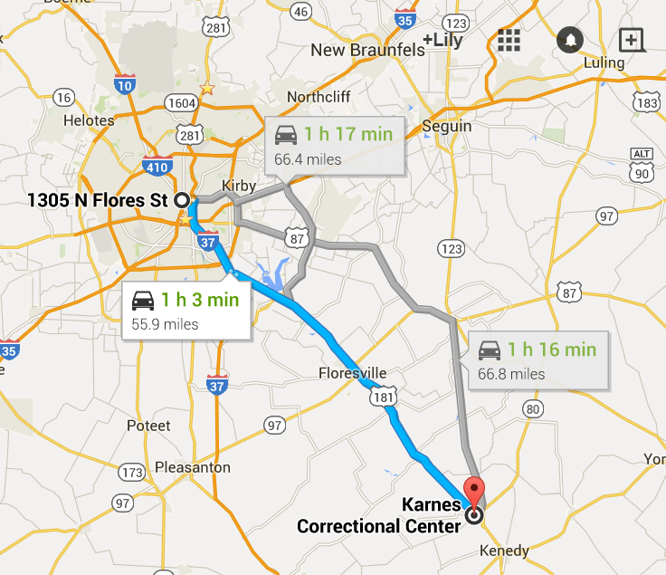 The drive from San Antonio to Karnes County Civil Detention Center is about 45 min. Image courtesy of Google Maps.