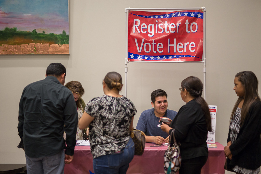 A voting registration booth at the Texas A&M-San Antonio mayoral forum. Photo by Scott Ball.