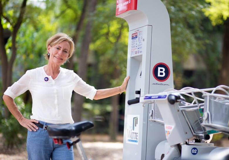 San Antonio B-Cycle Executive Director Cindi Snell poses for a photo at the B-Cycle station located at the Witte Museum. Photo by Scott Ball.