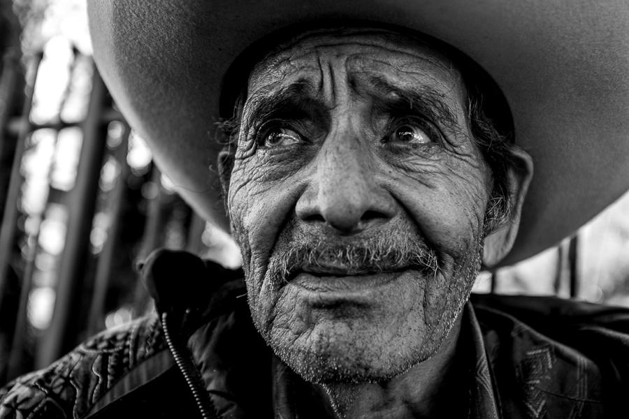 A street portrait of a man in downtown San Antonio. Photo by Scott Ball.