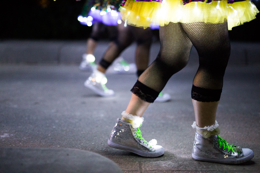 Dancers during the Fiesta Flambeau Parade in downtown San Antonio. Photo by Scott Ball.