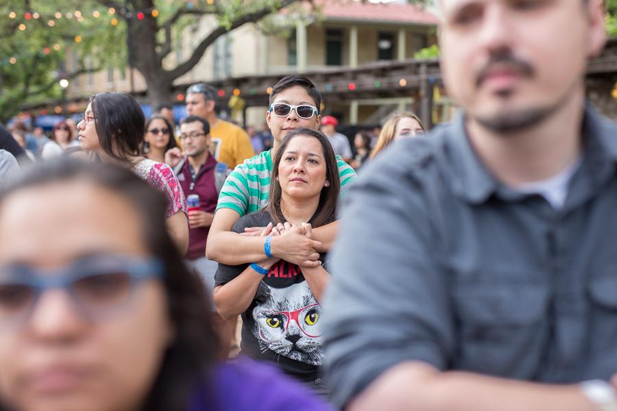 Festival attendees watch a performance at the La Villita Historic Arts Village during Maverick Music Festival 2015.
