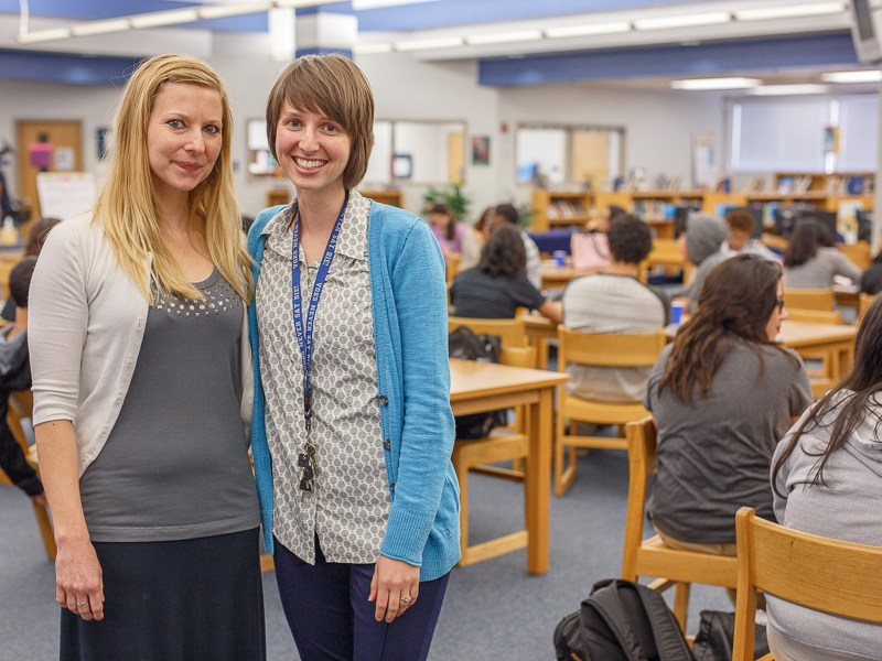 SAISD poetry teachers Tiffany Jenkins and Karri Ward pose for a photo at a poet workshop hosted by Naomi Shihab Nye at Lanier High School. Photo by Scott Ball.