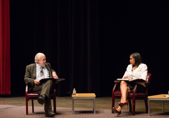 Mayor Ivy Taylor responds to a question during a mayoral forum at Trinity University.  Photo by Scott Ball.