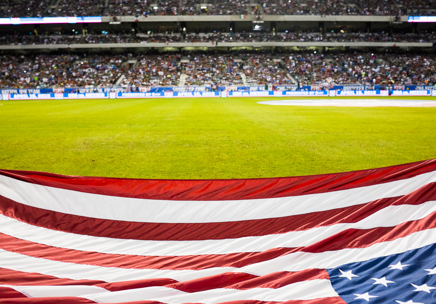 An American Flag at the USA vs Mexico friendly match at the Alamodome. Photo by Scott Ball.
