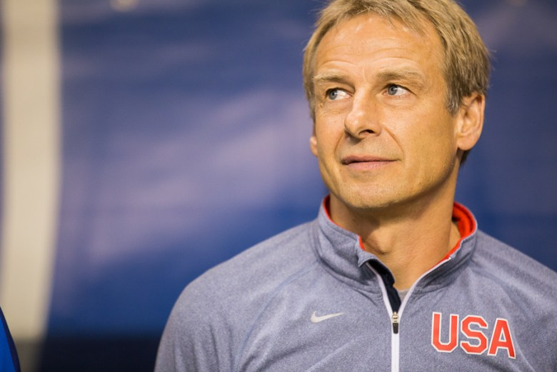 USMNT Coach Jurgen Klinsmann at the USA vs Mexico friendly match at the Alamodome. Photo by Scott Ball.