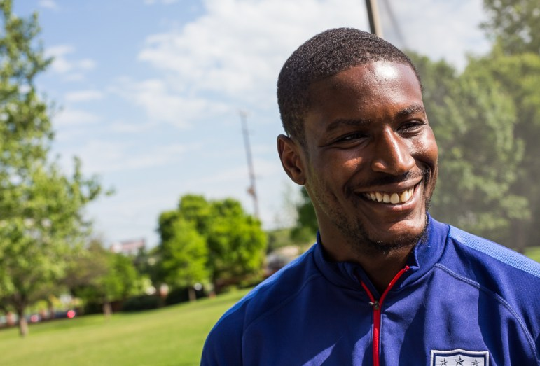 United States Soccer player Bill Hamid speaks with press at a practice hosted by Trinity University. Photo by Scott Ball.
