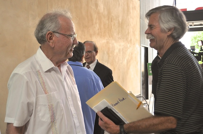 Former Mayors Phil Hardberger (left) and Howard Peak after speaking in support of the Sensible Pay for SA campaign. Photo by Iris Dimmick.