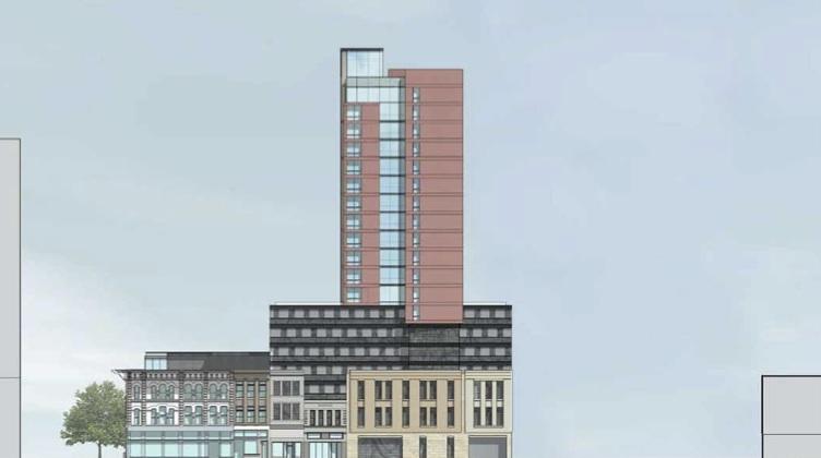 View of proposed hotel on Soledad Street. Woodbine Development Corporation.