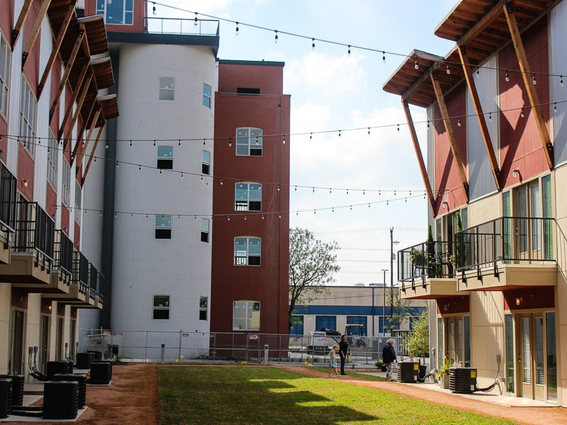The courtyard at The Peanut Factory Lofts. Photo by Alyssa Walker.