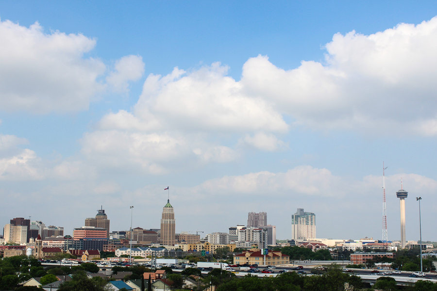 The view of the San Antonio skyline from The Peanut Factory Lofts. Photo by Alyssa Walker.