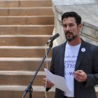 ThinkVoting co-founder F. Joseph Santori speaks during the Voting App Launch at City Hall. Photo by Iris Dimmick.