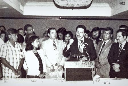 Willie Velasquez gives a speech with Cesar Chavez in attendance. Courtesy Photo from the Willie Velasquez Learning Center.