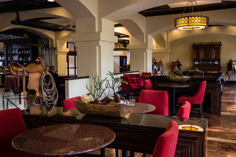The hotel lobby and bar at the Hilton Palacio Del Rio. Photo by Jacqueline Fierro.