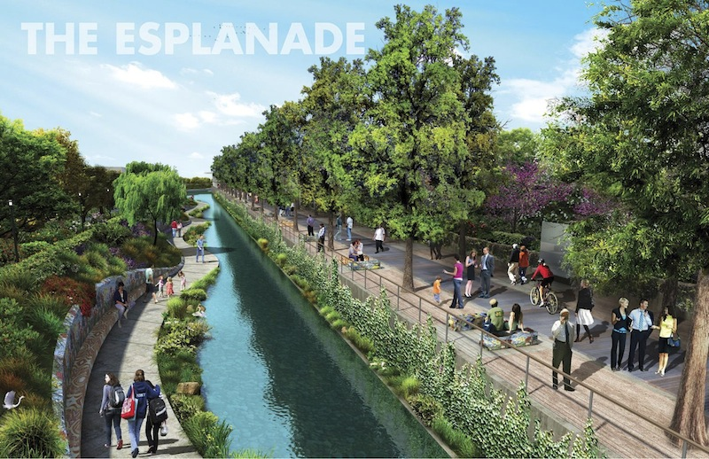 Preliminary design rendering for elements of the San Pedro Creek Improvements Project.