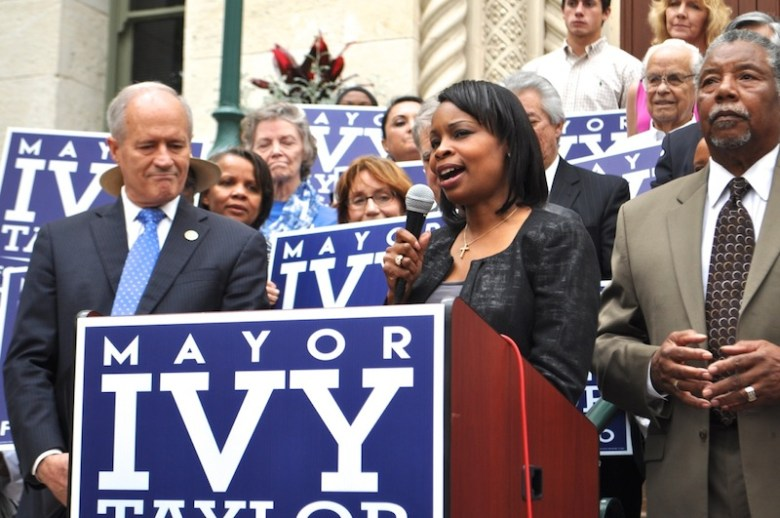 Mayor Ivy Taylor thanks Tommy Adkisson for his endorsement. Photo by Iris Dimmick