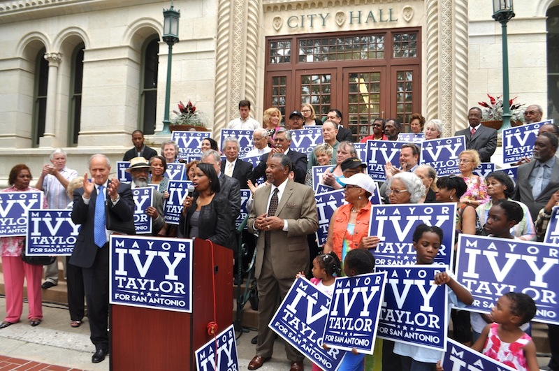 The crowd gathered in support of Mayor Ivy Taylor's campaign to serve a full term as mayor. Photo by Iris Dimmick.
