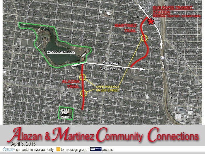A map of the Alazan and Martinez creeks, and how they will connect surrounding communities.